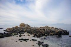 Красивый песчаный пляж Samil в Виго, Виго, Галиции, Испании Стоковые Изображения RF