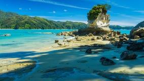 Красивый пляж в Новой Зеландии стоковое фото rf