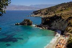 Красивый пляж на праздник в Албании Ionian море стоковое фото rf