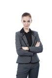 Красивый портрет бизнес-леди. Пересеченные оружия. Скопируйте avai космоса Стоковые Изображения RF