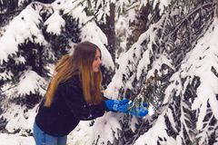 Красивый портрет девушки в лесе зимы Стоковое Изображение