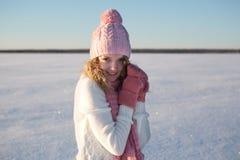 Красивый портрет девушки над предпосылкой зимы Стоковые Изображения RF