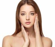 Красивый портрет стороны женщины с чистым свежим концом кожи вверх Девушка кожи Face Стоковое Изображение RF