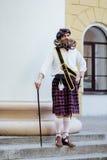 Красивый портрет храброго Scot с изумительными бородой и усиком завивает в венгерском стиле Стоковая Фотография RF