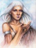 Красивый портрет airbrush молодого очаровательного ратника женщины иллюстрация вектора