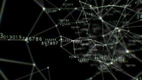 Красивый полет через тоннель цифров с номерами Соединяясь линии и точки Абстрактная предпосылка космоса с решеткой тоннеля иллюстрация штока