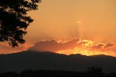 Красивый подъем Солнця и предпосылка солнца установленная с чернотой silhouetted деревья с оранжевым небом Стоковое Изображение RF
