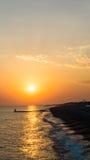 Красивый праздник пляжа моря захода солнца Стоковая Фотография