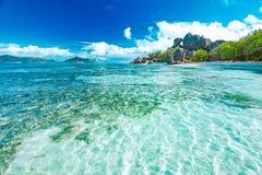 Красивый пляж Сейшельских островов Стоковая Фотография RF
