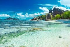 Красивый пляж Сейшельских островов Стоковые Изображения RF