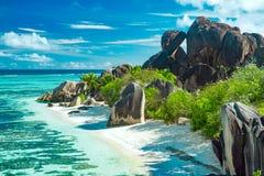 Красивый пляж Сейшельских островов Стоковое фото RF