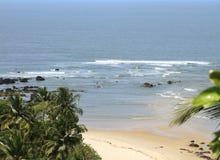 Красивый пляж с ладонью стоковая фотография