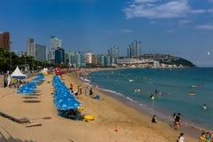 Красивый пляж Haeundae, Пусана, Кореи Стоковое Изображение