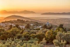 Красивый драматический заход солнца в Kos, Греции Стоковые Изображения RF