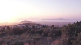 Красивый драматический заход солнца в Kos, Греции акции видеоматериалы