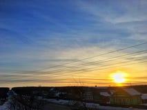 Красивый рассвет в русской сельской местности стоковое фото rf