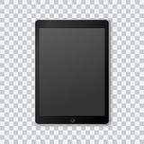 Красивый реалистический вектор современного черного покрашенного планшета на прозрачной предпосылке с чернотой переключенной с эк иллюстрация вектора