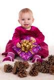 Красивый ребёнок в красном платье в Новогодней ночи Стоковая Фотография RF