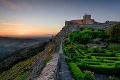 Красивый сад внутри стены крепости в Marvao, Alentejo стоковое фото rf