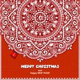 Красивый связанный орнамент шнурка рождества с Стоковое Фото