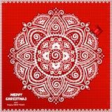 Красивый связанный орнамент шнурка рождества с Стоковая Фотография
