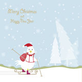 Красивый сезон с петухом на предпосылке лыжи и снега бесплатная иллюстрация