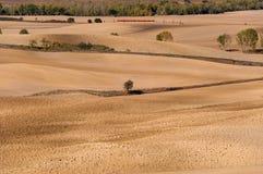 Красивый сельский ландшафт Тоскана около Pienza в осени Стоковое Фото