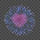 Красивый сердц-фейерверк Ярким романтичным предпосылка изолированная фейерверком прозрачная Светлый салют украшения влюбленности  иллюстрация штока