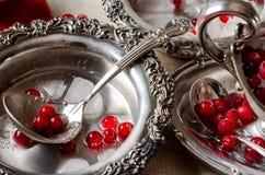 Красивый серебряный ковш с красными ягодами Варить сок Стоковая Фотография RF