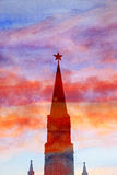 Красивый силуэт башни Кремля Стоковое Изображение RF