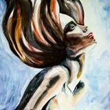 Красивый силуэт женщины. Стиль причёсок. стоковое изображение