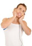 красивый слушая усмехаться нот человека Стоковая Фотография