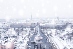 Красивый снежный зимний день в Латвии Стоковая Фотография RF