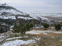 Красивый снежный ландшафт в Cuenca, Испании Стоковые Фото