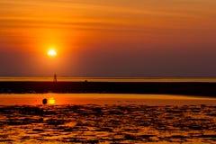 Красивый состав захода солнца лета на пляже Стоковые Изображения RF