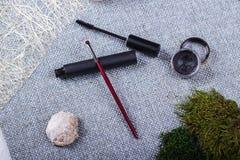 Красивый состав: профессиональные щетки макияжа и инструменты, декоративные элементы стоковые изображения rf