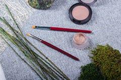 Красивый состав: профессиональные щетки макияжа, оборудование и декоративные элементы стоковые изображения