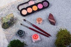 Красивый состав: профессиональные щетки макияжа, оборудование и декоративные элементы стоковые фотографии rf
