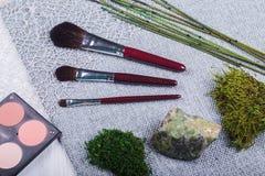 Красивый состав: профессиональные щетки макияжа, оборудование и декоративные элементы стоковая фотография rf