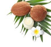 Красивый состав с кокосовым маслом и гайками стоковые фотографии rf