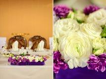 Красивый состав цветка на таблице свадьбы Стоковые Изображения