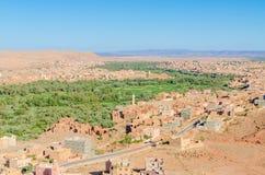 Красивый сочный зеленый оазис с зданиями и горами на ущелье Todra, Марокко, Северной Африке Стоковые Фото