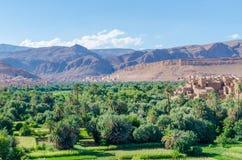 Красивый сочный зеленый оазис с зданиями и горами на ущелье Todra, Марокко, Северной Африке Стоковое Фото