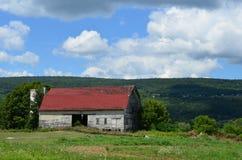 Красивый старый выдержанный амбар на горном склоне Нью-Йорка северной части штата в лете Стоковые Фото