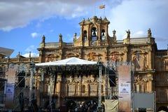 Красивый старый город мэра Саламанки, Испании, собора и площади и университета Universidad, испанской архитектуры стоковые фото