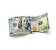 Красивый счет 100-доллара на белой предпосылке Стоковые Фотографии RF