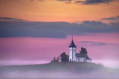 Красивый словенский пейзаж горы на сумраке стоковое изображение