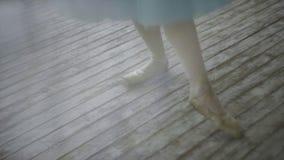 Красивый танцор девушки выполняет элементы классического балета в дизайне просторной квартиры Женские танцы артиста балета конец  Стоковая Фотография