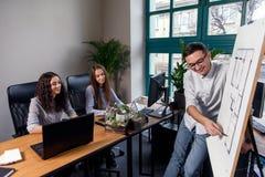 Красивый твердый менеджер в стеклах объясняет рабочие задания для его работников Творческая концепция дела людей или рекламы стоковые изображения