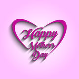 Красивый текст дня матерей в дизайне сердца Карточка для торжества Стоковая Фотография